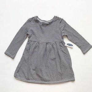 Old Navy NWT black stripe LS dress 12-18m & 18-24m